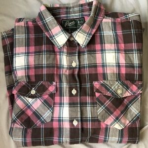 Roots pink flannel long sleeve shirt. Women's Sm